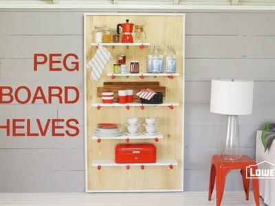 DIY Decorative Pegboard Shelving Unit