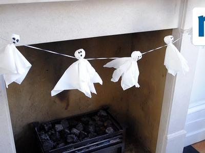 DIY ghostly garland party decoration