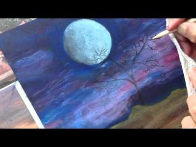 ClassPlan - Moon night oil pastel on black card stock - inadvertent asmr art painting tutorial