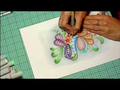 Copic Marker speed color zentangel inspired art