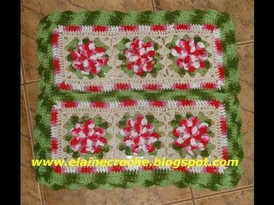 CROCHE - TAPETE SQUARE SUPREMO FLORES