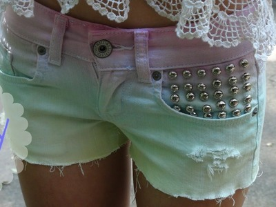 DIY Ombre, Studded, Distressed Shorts