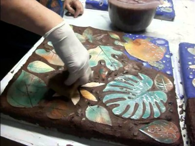 Handmade pottery tiles for garden mosaic
