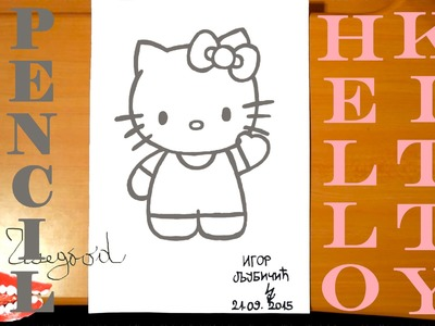 How to draw HELLO KITTY Easy Full Body Cute Art for kids, draw easy stuff, PENCIL | SPEED ART
