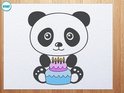 How to draw Panda with birthday cake
