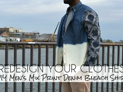 (RYC) 23:DIY Men's Mix Print Denim Bleach Shirt (Part 2)