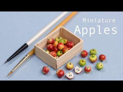 Miniature Apples in their Crate. Polymer Clay Miniature Food Tutorial