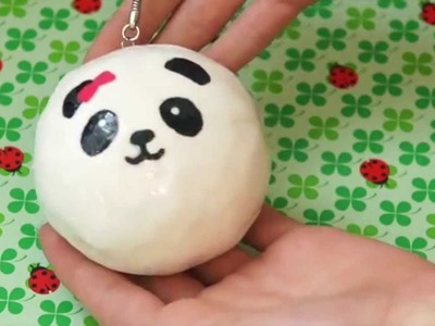 Panda bun squishy inspired polymer clay tutorial