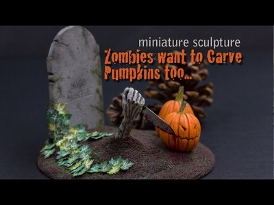 Polymer Clay Sculpting, Zombies Want to Carve Pumpkins Too