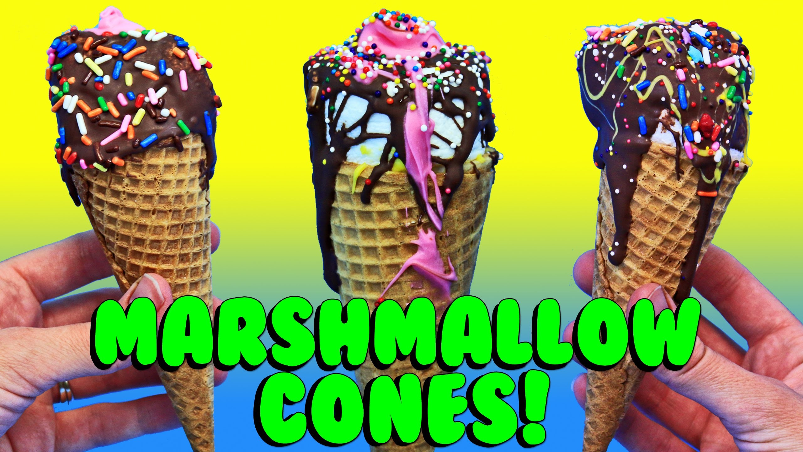 CHOCOLATE MARSHMALLOW ICE CREAM CONES DIY Recipe & Cooking for Kids by DisneyCarToys