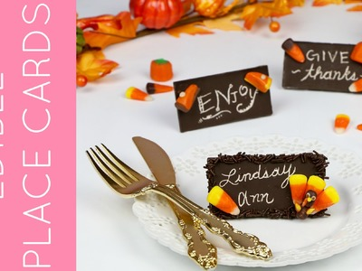 DIY Toothpick Engraved Edible Chocolate Bar Thanksgiving Place Cards