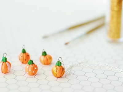 Patterned Pumpkin Necklaces Polymer Clay Tutorial