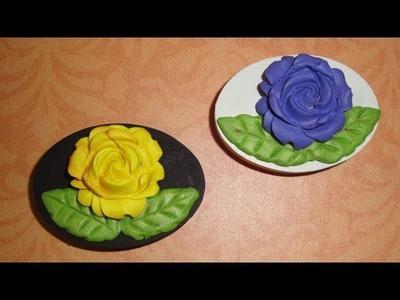 Polymer Clay Rose Fridge Magnets