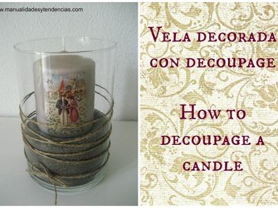Cómo decorar velas con decoupage. How to decoupage a candle