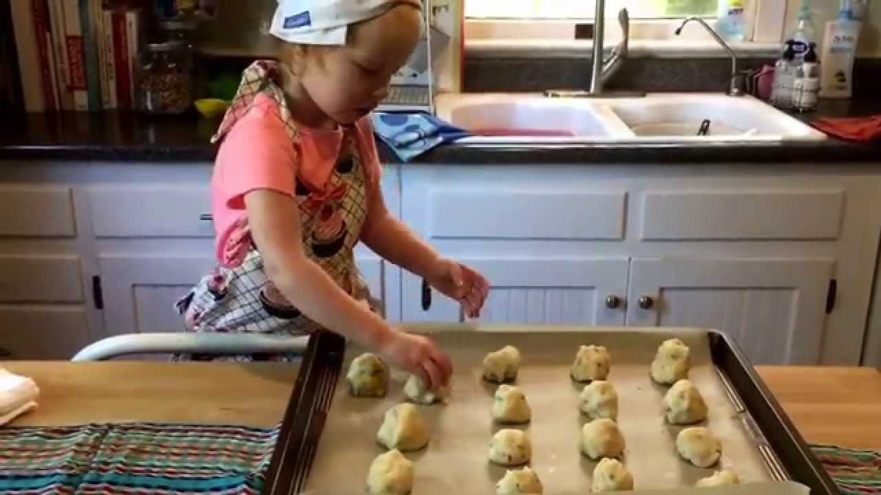 Cooking with Grace- making rainbow cookies! Two year old loves to cook.