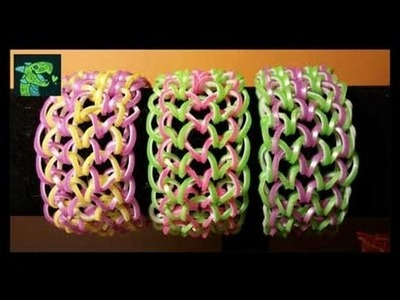 Dragon Scale Cuff Bracelet on Monster Tail - EASY * 6 Pegs Easier then on Rainbow loom