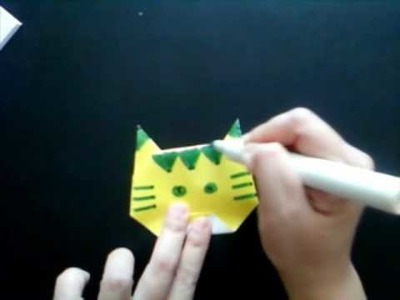 Easy Origami Tiger (Head) For Children