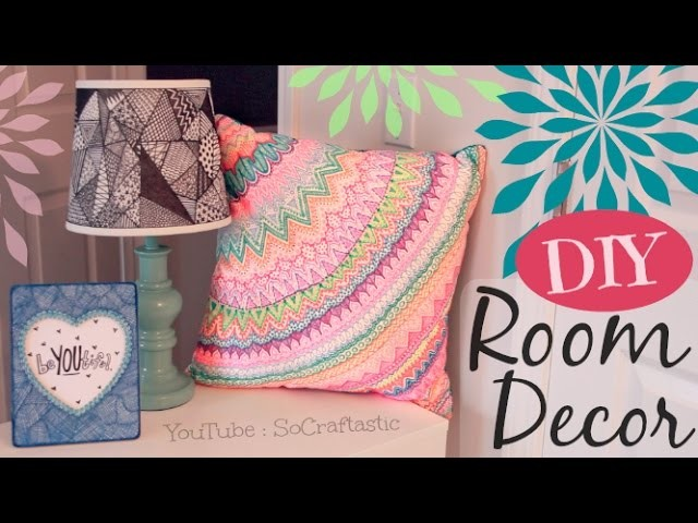 DIY ROOM DECOR : Doodle Lamp Shade, Pillow, & Picture Frame