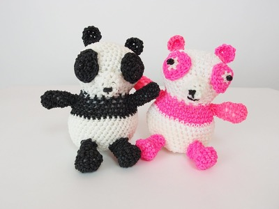 Panda Rainbow Loom Bands Amigurumi Loomigurumi Hook Only Tutorial