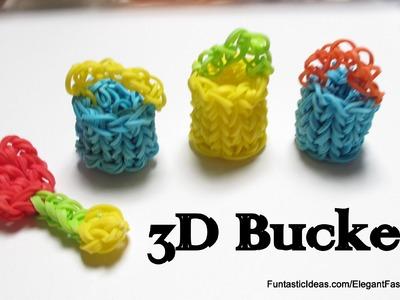 Rainbow Loom 3D Water Bucket charm - How to - Summer series