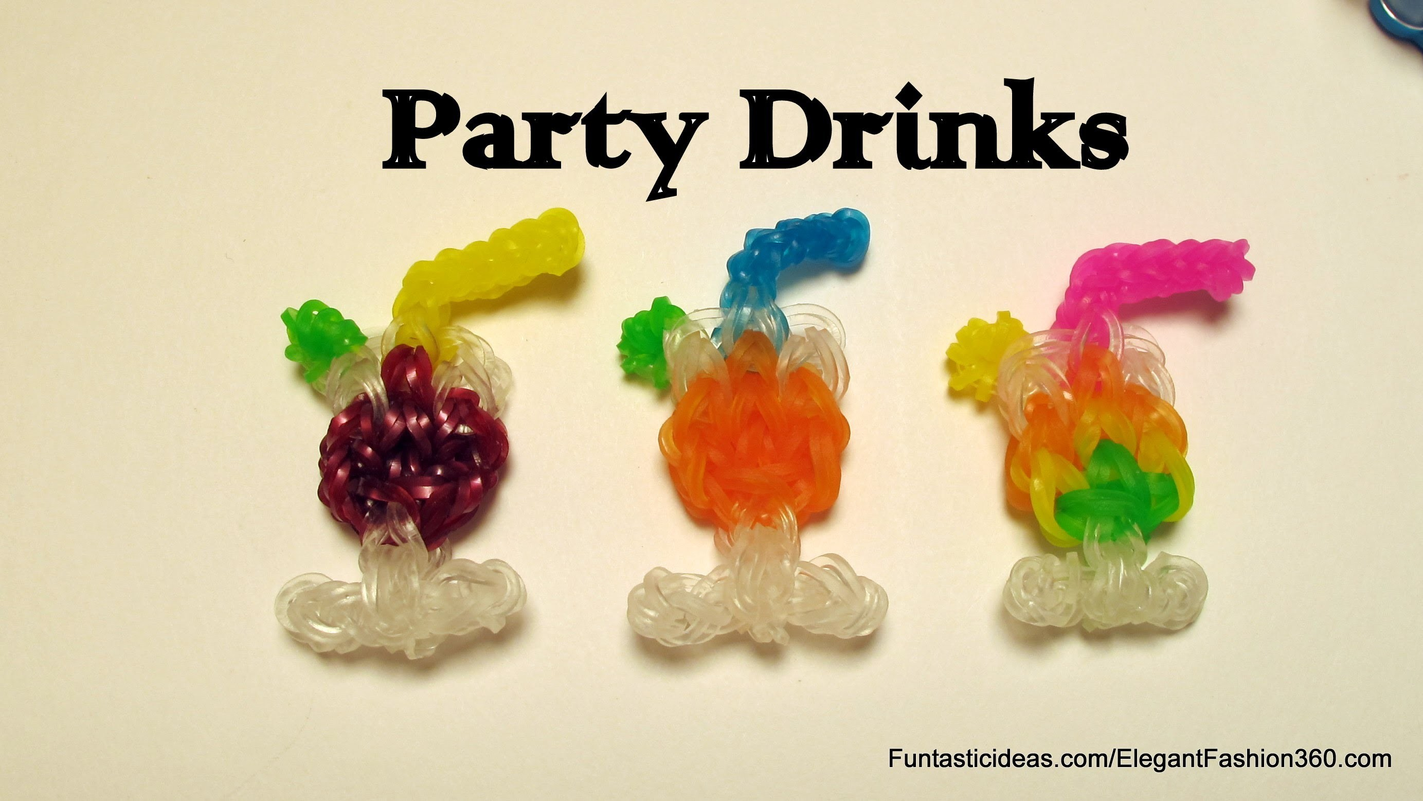 Rainbow Loom Party Glass Drinks.Juice,Cocktail,Wine, Water emoji.emoticon charm - How to