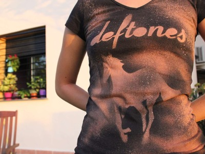 DIY Deftones custom t-shirt using bleach ~ Camiseta de Deftones a base de lejía
