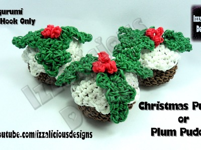 Rainbow Loom Christmas.Xmas Pudding.Plum Pudding Amigurumi Crochet Charm - Loom-less.Hook Only