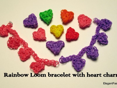 Rainbow Loom Heart Charms Bracelet - How to