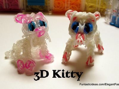 Rainbow Loom Little Kitty. 3D cat charm - How to - Animal Series