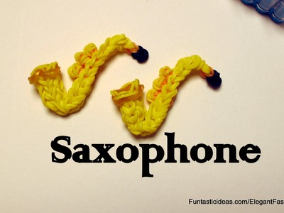 Rainbow Loom Saxophone 3D Charm - How to - Emoji.Emoticon.Music Series