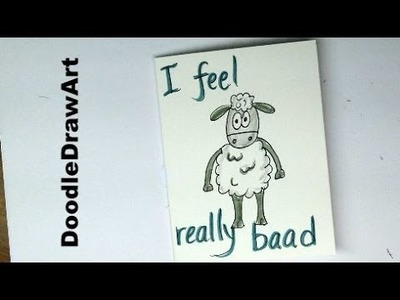 Drawing: How to Draw a Sheep - Belated Birthday Card. Easy step by step for kids or beginners