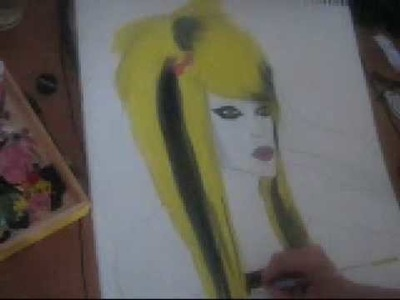 Drawing & painting a Scene girl with bloned hair
