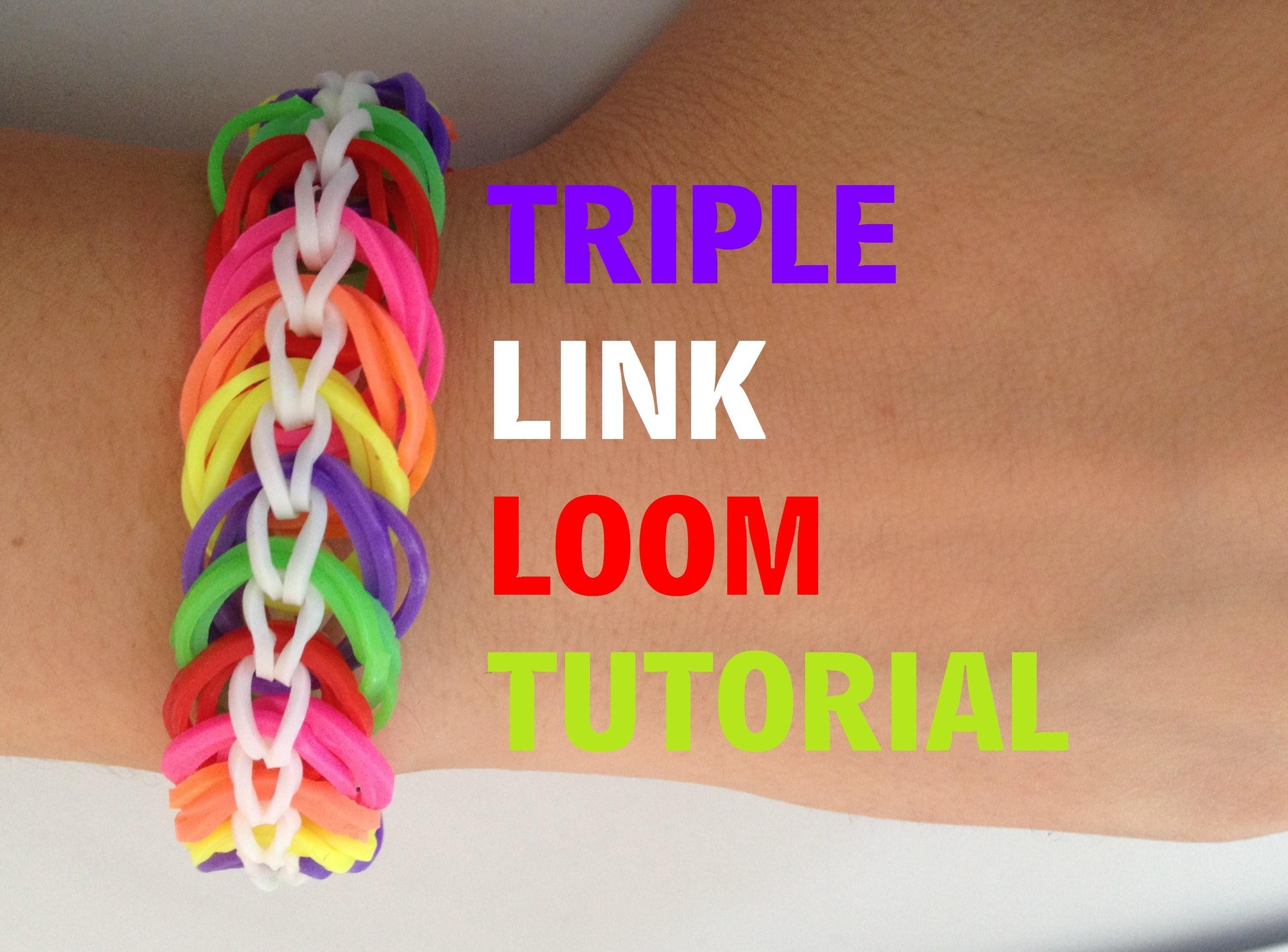 TRIPLE LINK Loom Bracelet tutorial Rainbow Loom l JasmineStarler