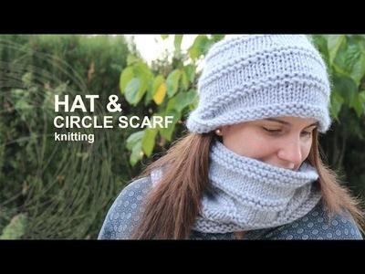 Tutorial Hat & Circle Scarf Knitting in English
