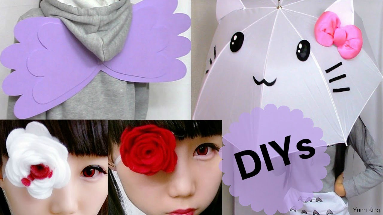 3 Easy Cosplay DIYs: DIY Wings + DIY Cat Umbrella.Parasol + DIY Felt Rose Eye Patch