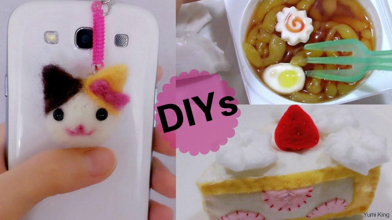 3 Japanese DIY Crafts: DIY Cat Needle felting Phone Dust Plug + DIY Ramen Candy + DIY Felt Cake