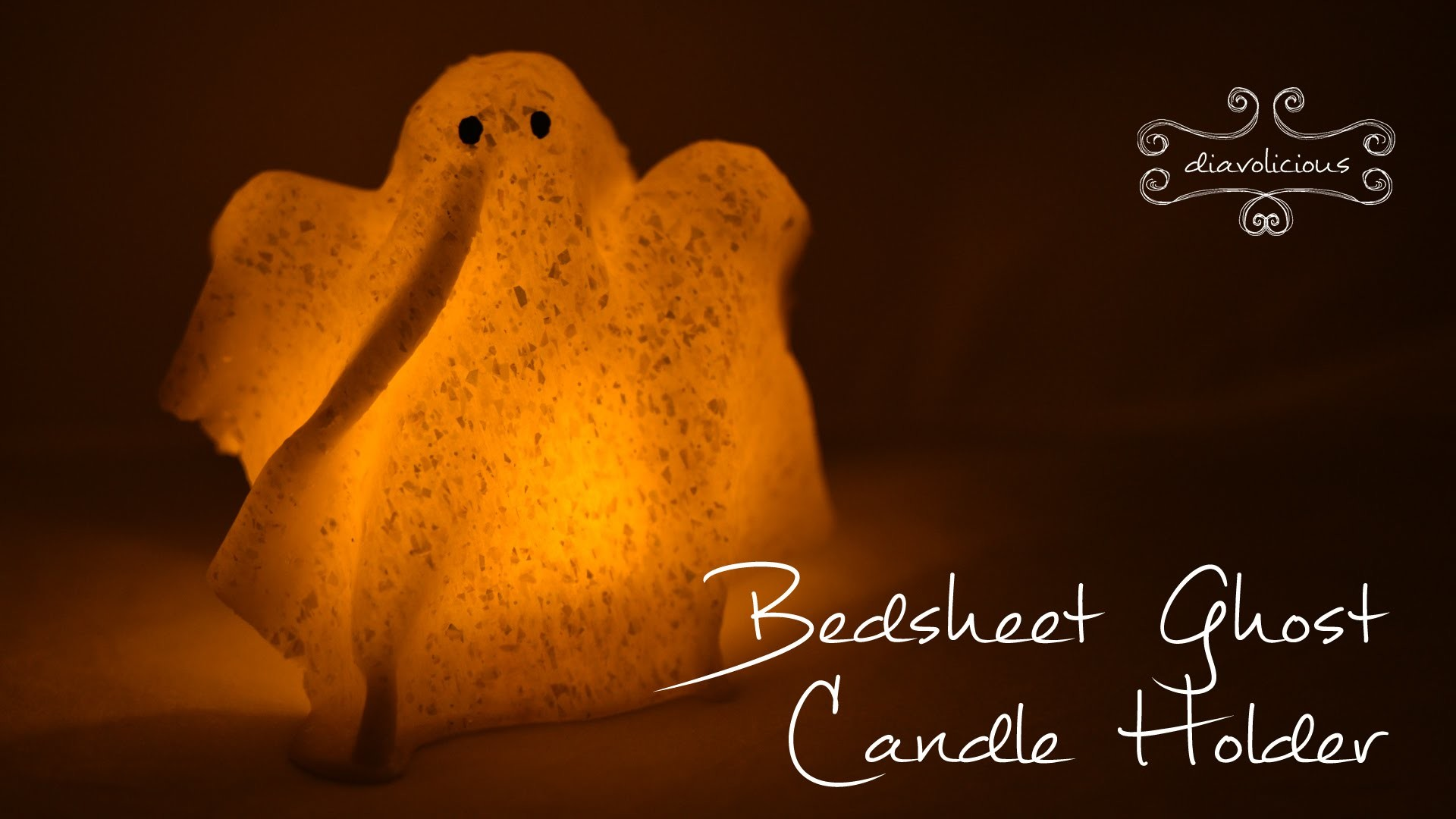Bedsheet ghost candle holder - last minute Halloween polymer clay TUTORIAL