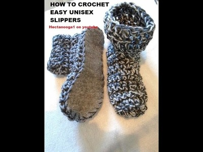 CROCHET:  EASY Unisex CROCHET SLIPPERS, Christmas Gift Idea, felt soles, non slip soles VIDEO # 1095