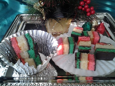 ✞ Italian Tre Colori Christmas 7 Layer.Rainbow Cookies. ✞