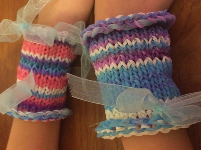 Rainbow loom cuff bracelet no S clips required on round loom frozen inspired