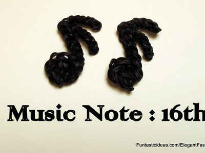 Rainbow Loom Music Note 16th charm - How to - Music Series