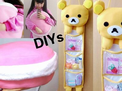 Room Decor DIYs:DIY Rilakkuma 3 Storage Hanging Wall Organizer+DIY Macaron Pillow+Haul