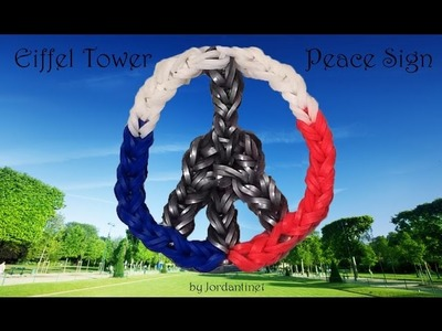 New Eiffel Tower Peace Sign. Symbol Charm - Rainbow Loom - Made on One Loom - Paris Support