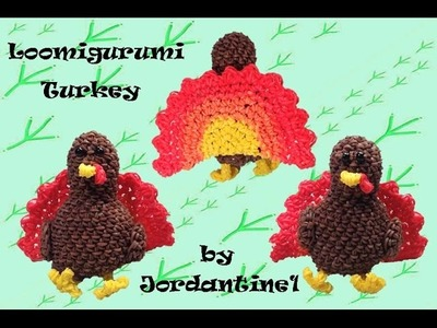 New Loomigurumi. Amigurumi Turkey - Thanksgiving - Rainbow Loom - Hook Only - Rubber Band Crochet