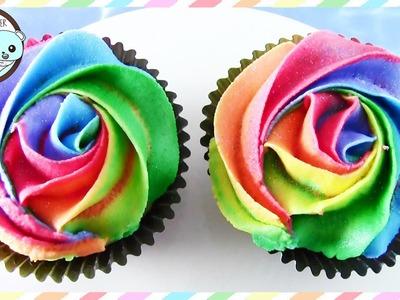 RAINBOW CUPCAKES, RAINBOW ROSE CUPCAKES - BY SUGARCODER