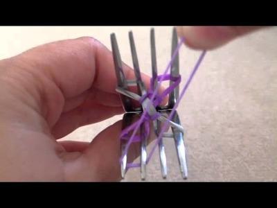 Cross Quadfish Rainbow Loom Bracelet 2 Forks