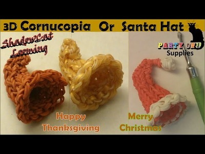 Rainbow Loom 3D Cornucopia and 3D Santa Hat Charm.Thanksgiving.Christmas