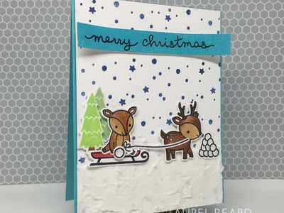 Ready Set Stamp with LLC: Christmas Card with Copic Coloring and Texture with Lawn Fawn