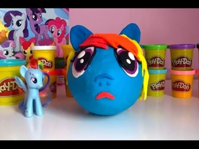 Giant Rainbow Dash Surprise Eggs My Little Pony Toys Animagic Playdoh Sweets