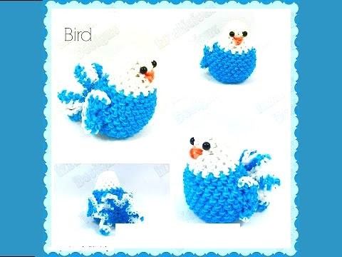 "How to Make DIY (Amigurumi) ""New 3D Bird"" from Rainbow Loom. With hook"